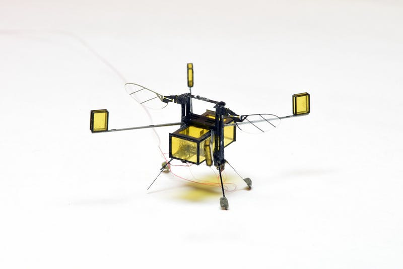 New, hybrid RoboBee can fly, dive into water, swim, propel itself back out of water, and safely land.