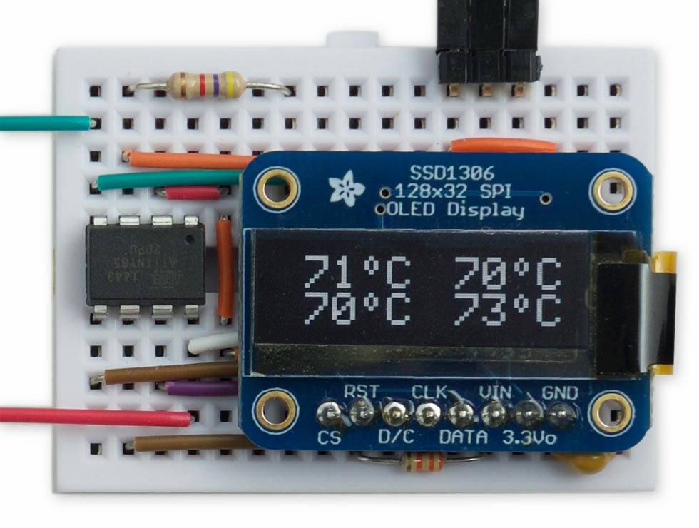 Four-Channel Thermometer on OLED display