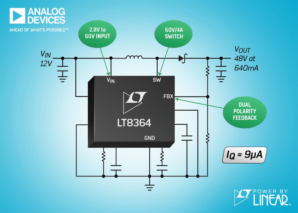 LT8364 current mode step-up regulator has 2.8V – 60V input range