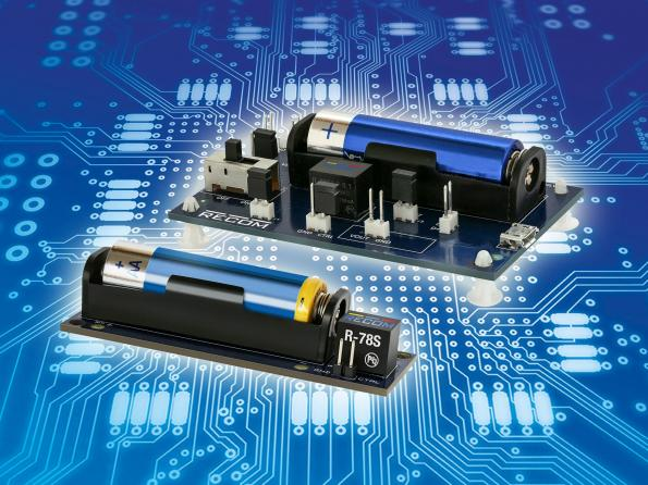 R-78S switching regulator boosts a AA battery to 3.3V