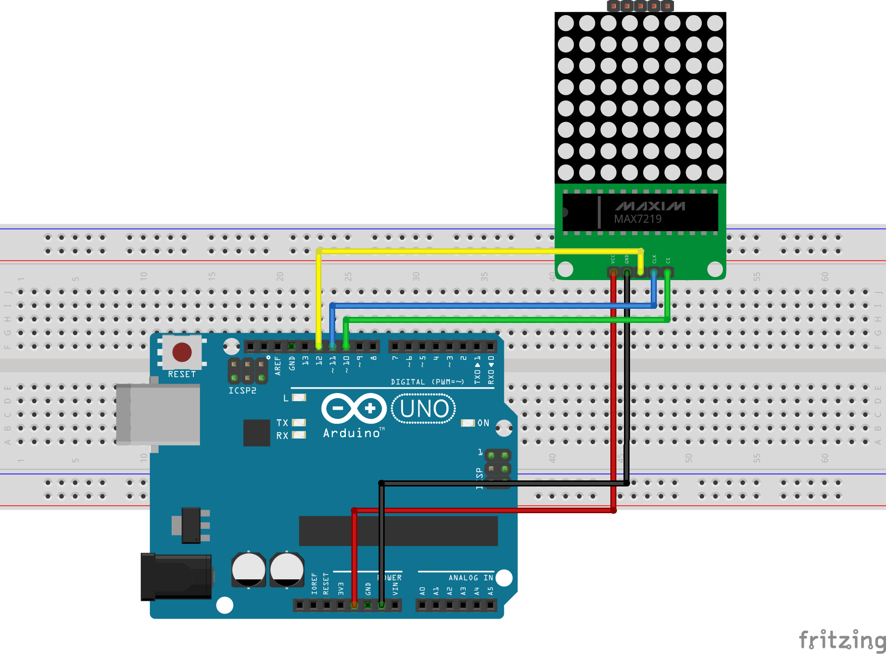 Driving An 8x8 64 Led Matrix With Max7219 Or Max7221 And Arduino Array Wiring Diagram Here Is A Pin Map Of The Connection For Clarity