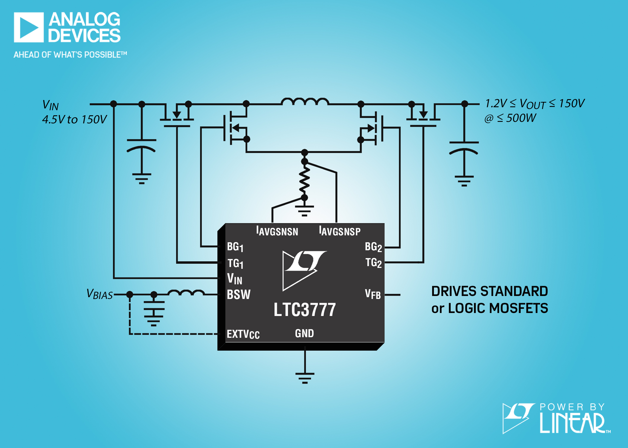 150VIN & VOUT Synchronous 4-Switch Buck-Boost Controller with Integrated Switching Bias Supply