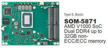 Advantech SOM-5871 Module Introduces The New AMD Ryzen Embedded V1000 SoC