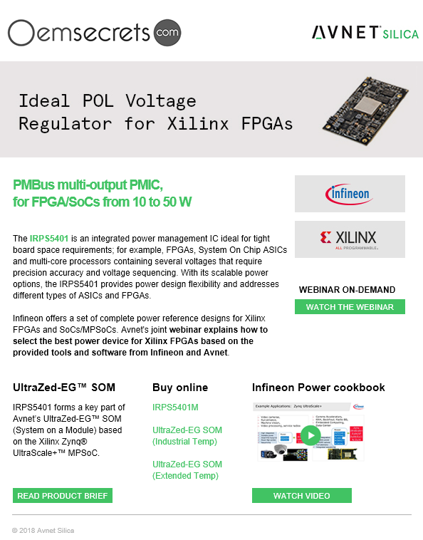 @Infineon Offers a set of complete power reference #designs for @XilinxInc #FPGAs and #SoCs / #MPSoCs with @AvnetSilica via @oemsecrets
