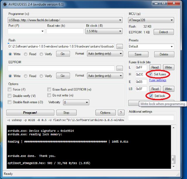 Burning Arduino Bootloader on ATMega328 using USBasp Programmer