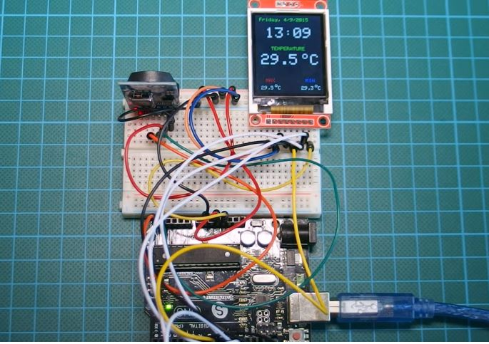 Arduino Real Time Clock with Temperature Monitor