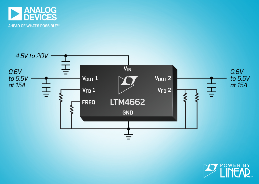 Dual 15A or Single 30A µModule Regulator with Stacked Inductor Package is 96% Peak Efficient