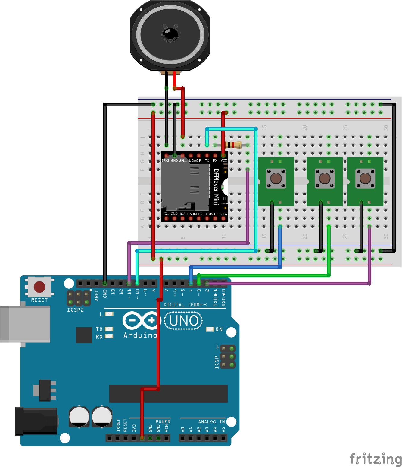 mp3 player using arduino and dfplayer mini