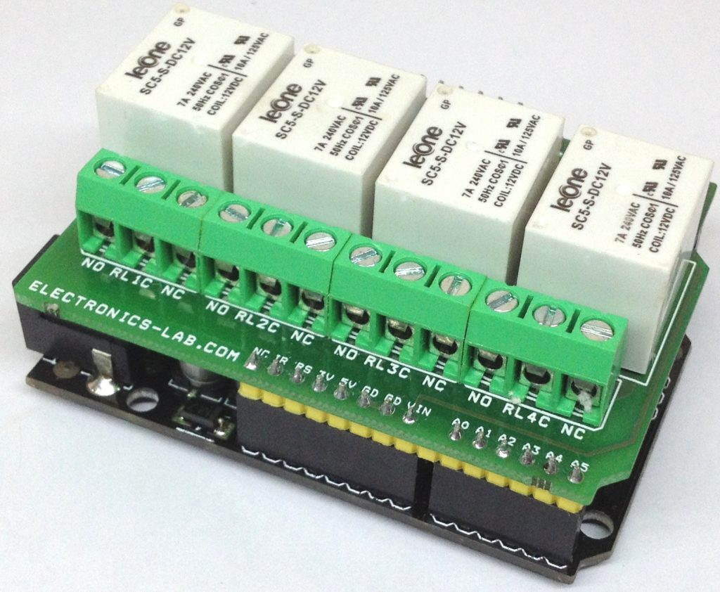 4 Channel Relay Shield For Arduino Uno Electronics Lab