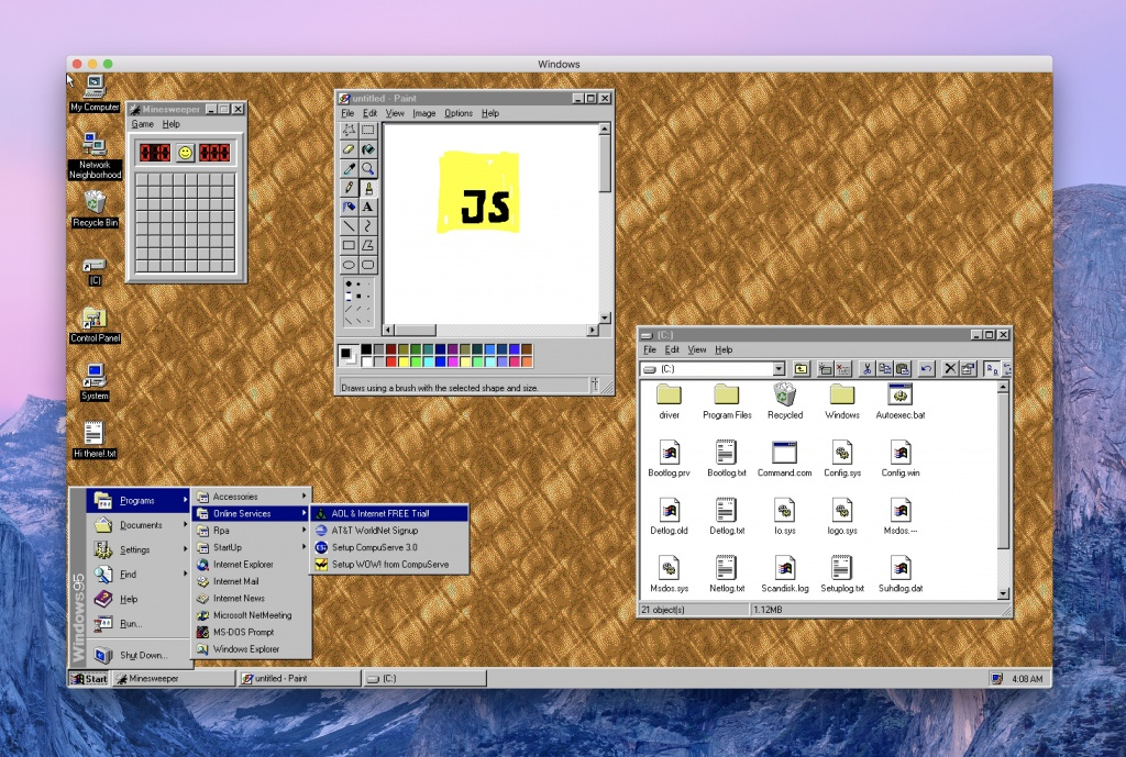 Run Windows 95 as an app on Win, MaOS and Linux