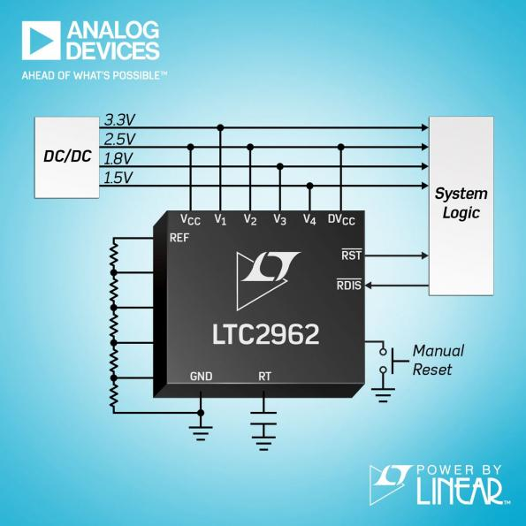 4-channel voltage supervisors accurate to ±0.5%