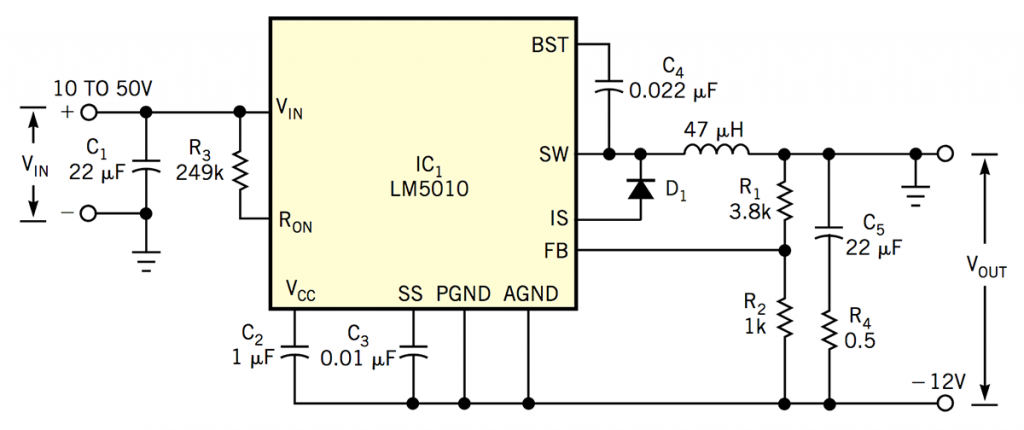 Constant-on-time buck-boost regulator converts a positive input to a negative output