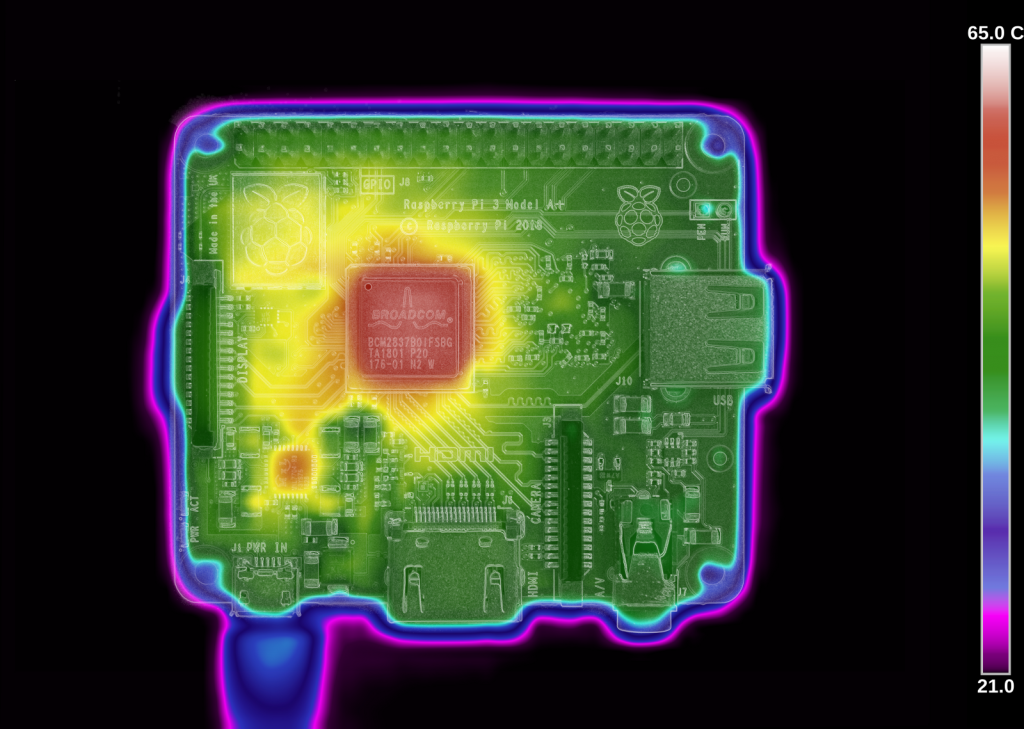 Raspberry Pi 3 A+ Thermal Photograph