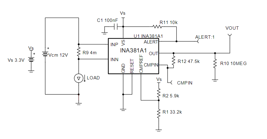INA381A1 Overcurrent detection circuit