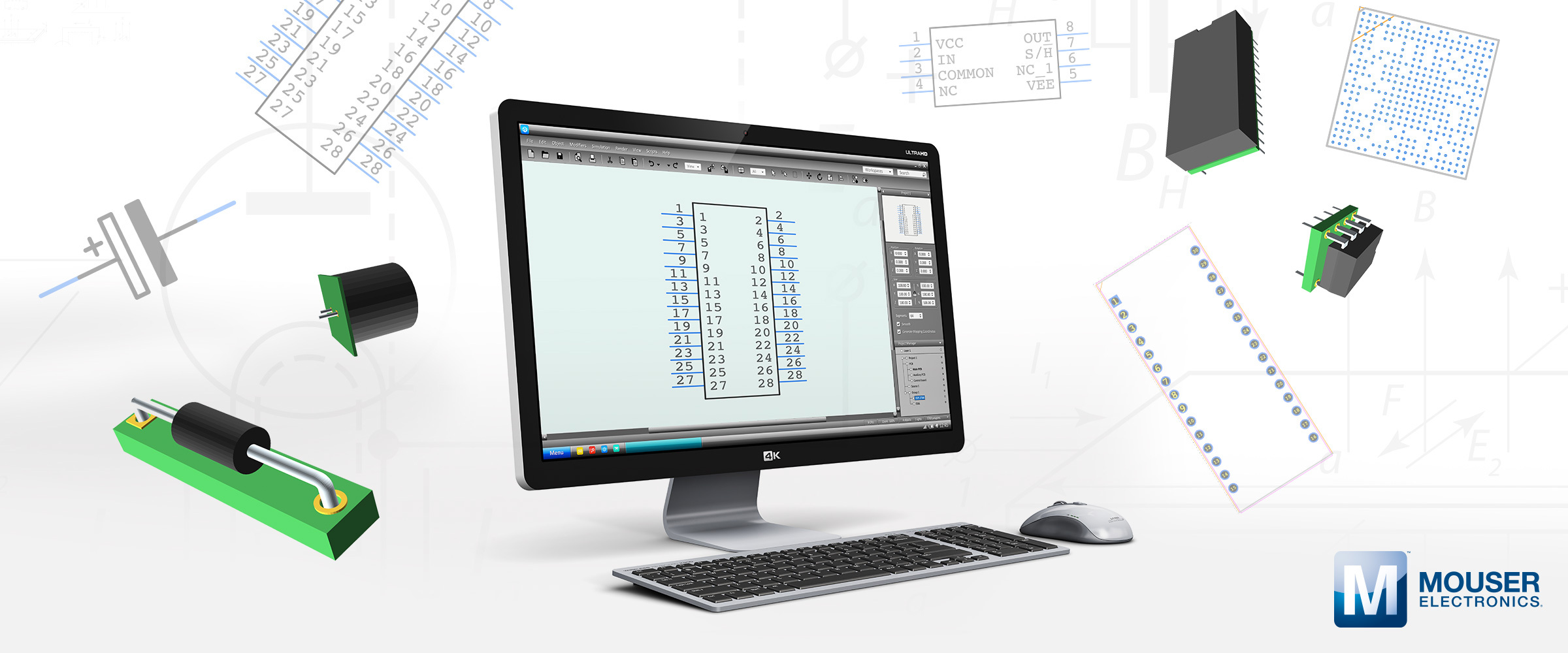 Mouser & SamacSys Offer Engineers Free PCB Footprints, Schematic Symbols and 3D Models