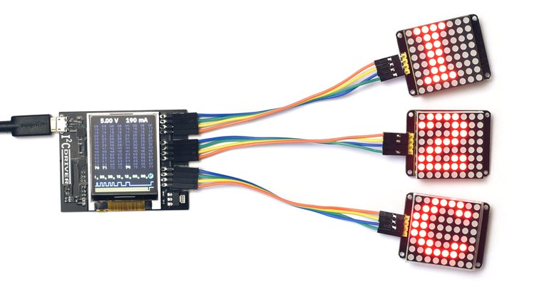 I²CDriver driving three 8x8 LED modules