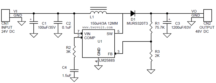24v to 48v   1 5a step-up dc-dc converter using lm2588