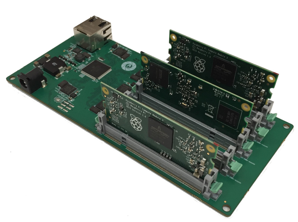 5 Node Raspberry Pi 3 CoM Carrier Board With GbE Switch