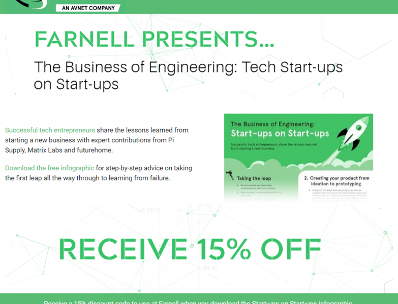 Free Tech Start-up Infographic and 15% discount code from Farnell