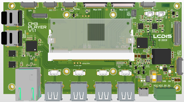 CM3 PLAYER Carrier Board for Raspberry Pi CM3+ Targets LVDS