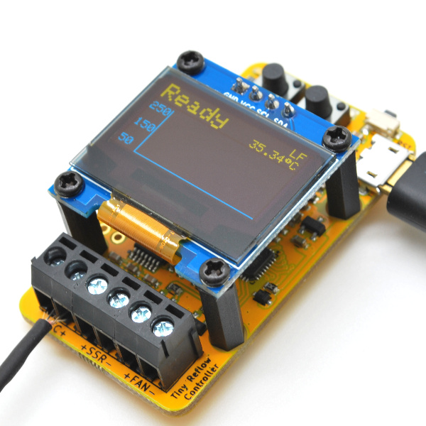 Tiny Reflow Controller V2 features an OLED display