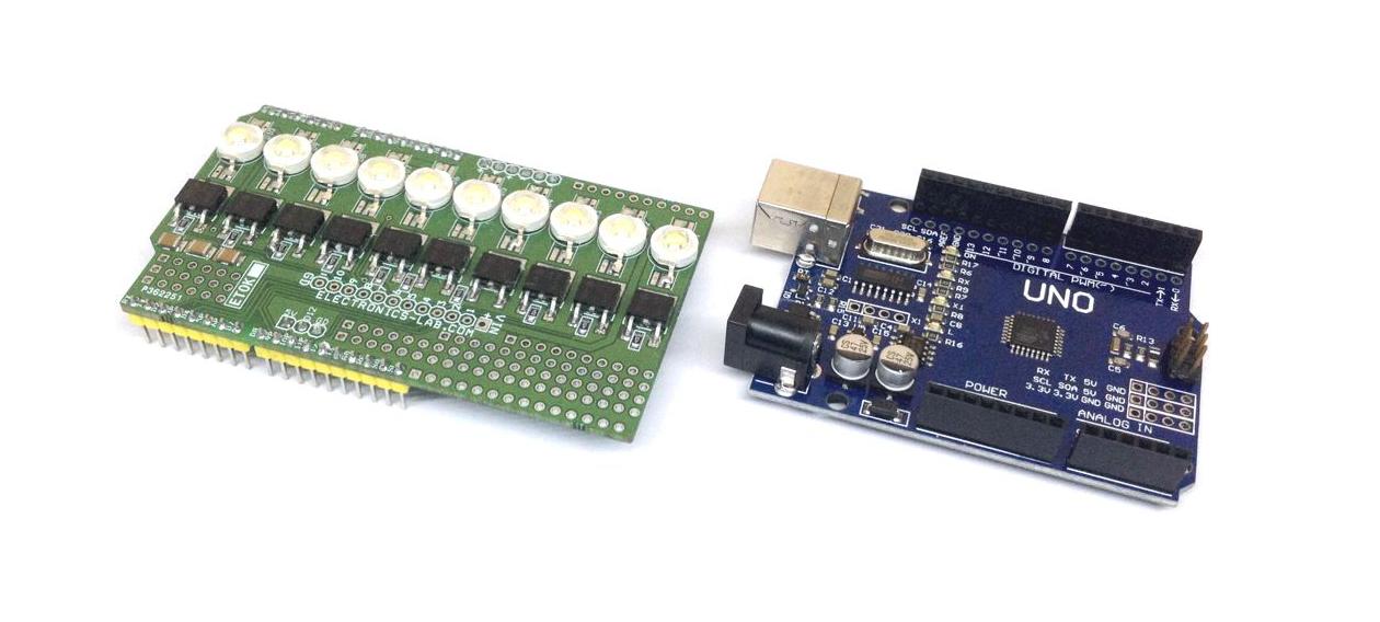 10 x 1W White LED Shield For Arduino Uno