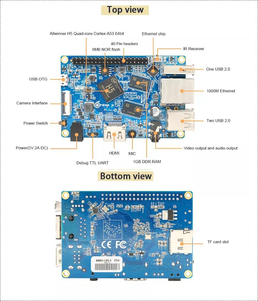Orange Pi PC 2 - Quad Core 64bit Linux and Android mini PC