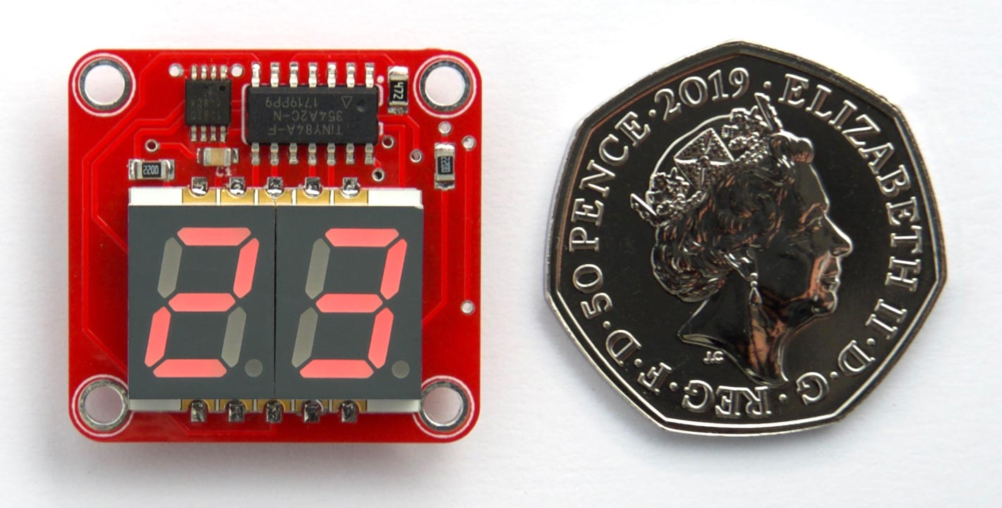 Two-Digit Thermometer using ATtiny84 and a DS12B20