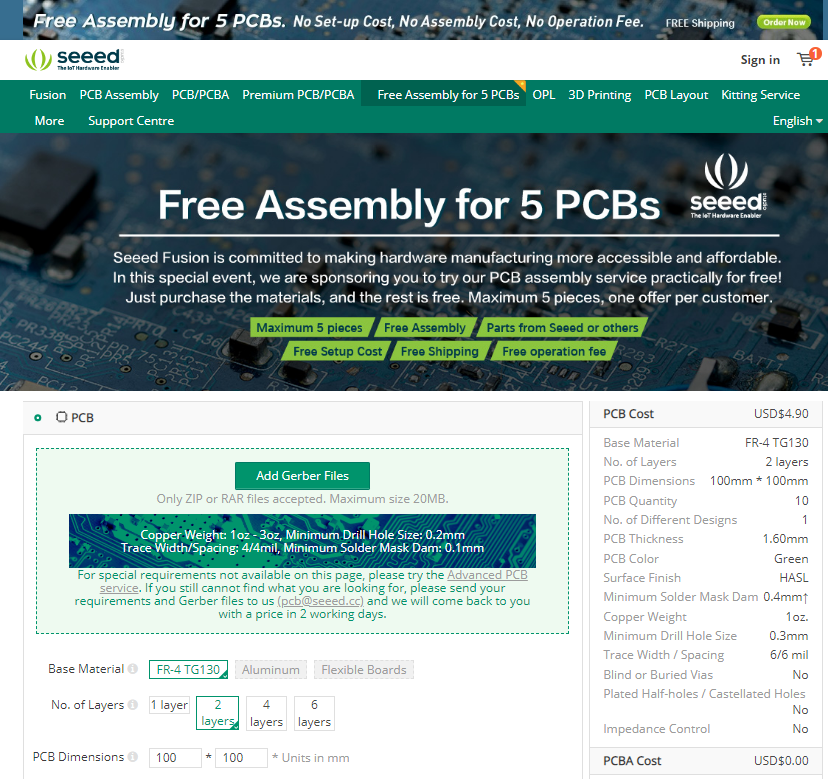 Seeed Studio Fusion PCBA Service - Free Assembly for 5 PCBs