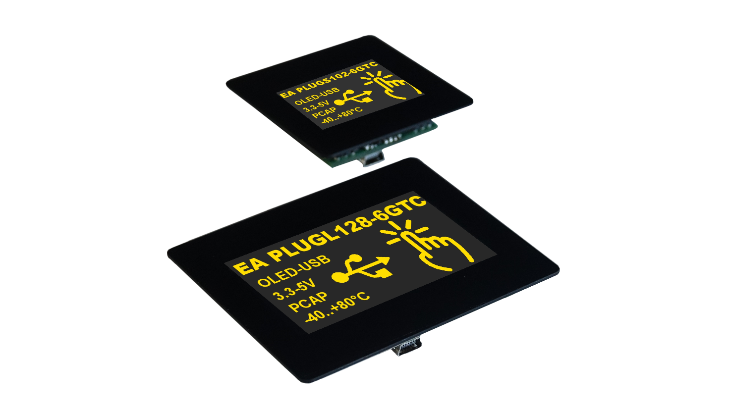 High-contrast OLED displays with USB interface