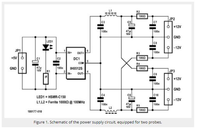 Oscilloscope Differential Probe USB Power Supply
