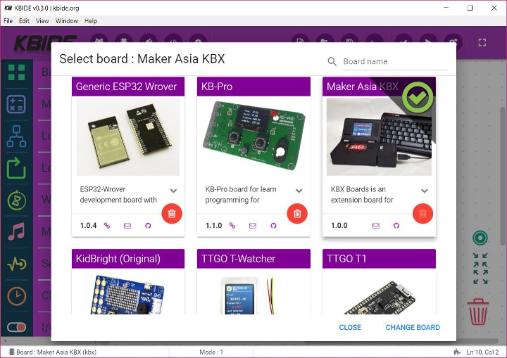 KB-IDE Supports Arduino, ESP32 and others in Dual Style