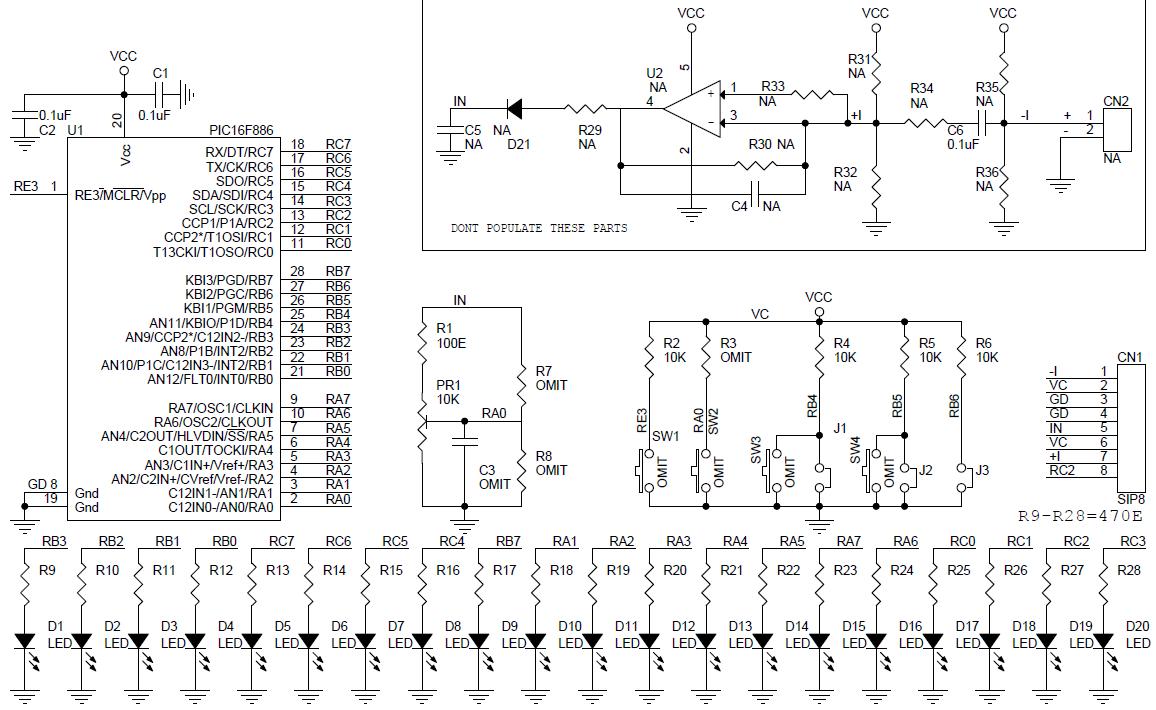 LED Lighting Effects Generator using PIC16F886 - Electronics-Lab