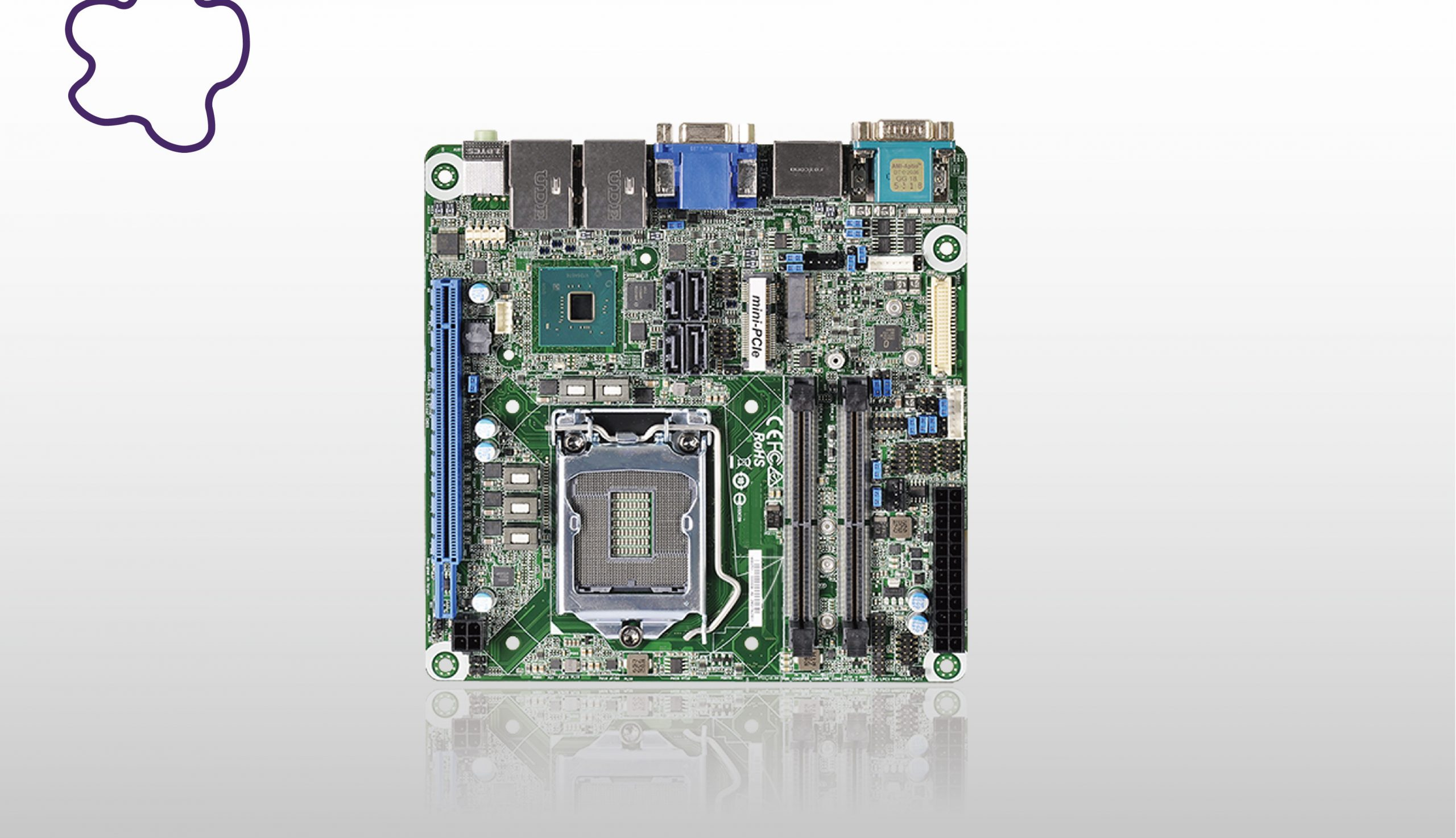 Mini-ITX form factor board has four video outputs with up to 6-core performance