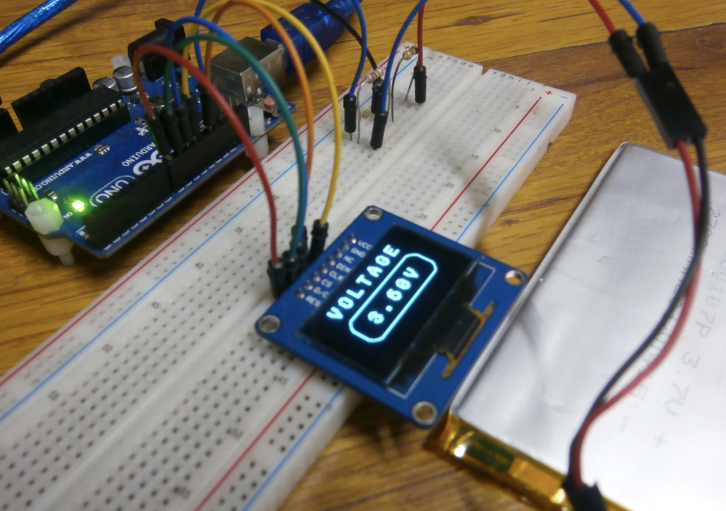 Arduino Voltmeter using SH1106 OLED display