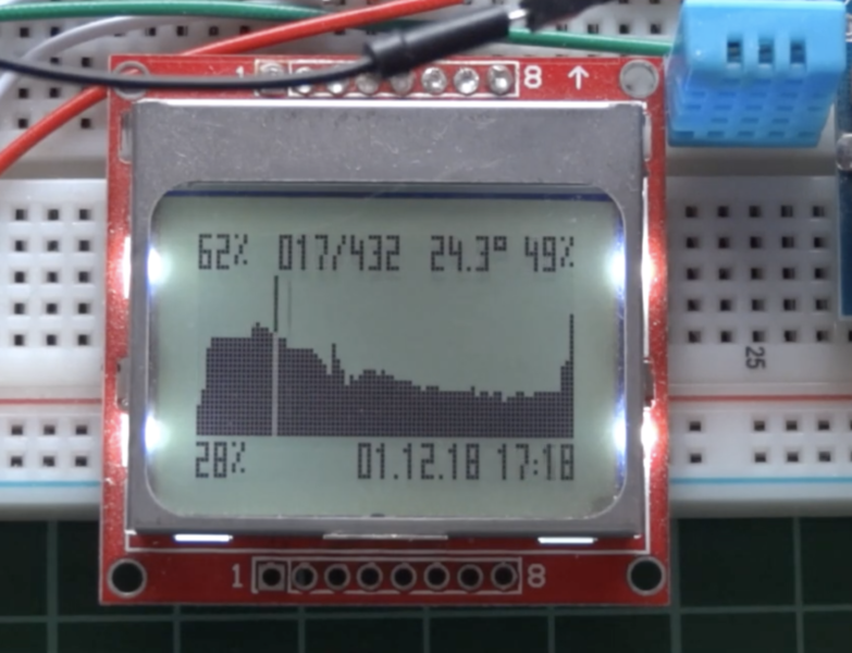 Nokia 5110 LCD based Arduino Datalogger with Menu