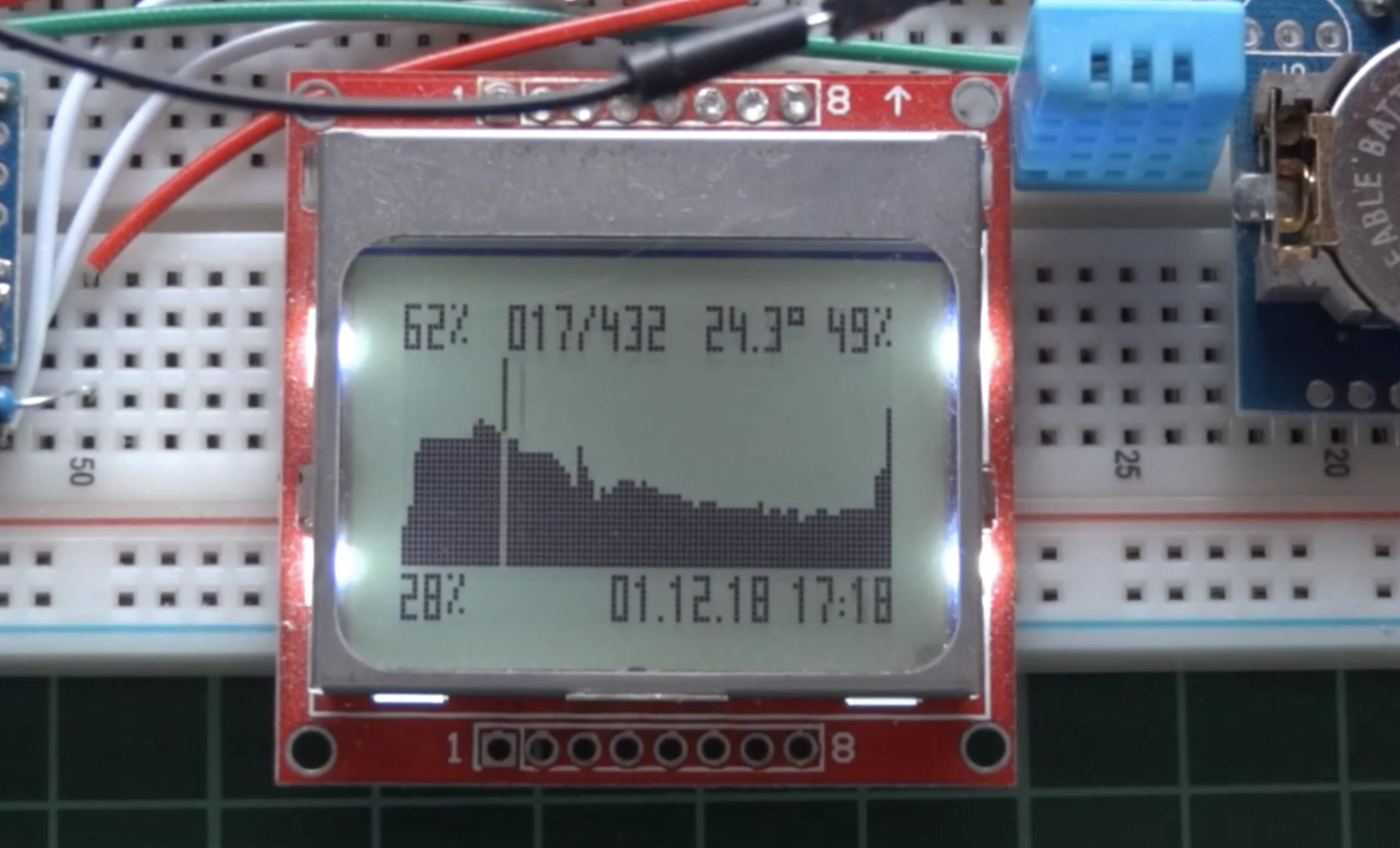 Nokia 5110 LCD based Arduino Datalogger with Menu