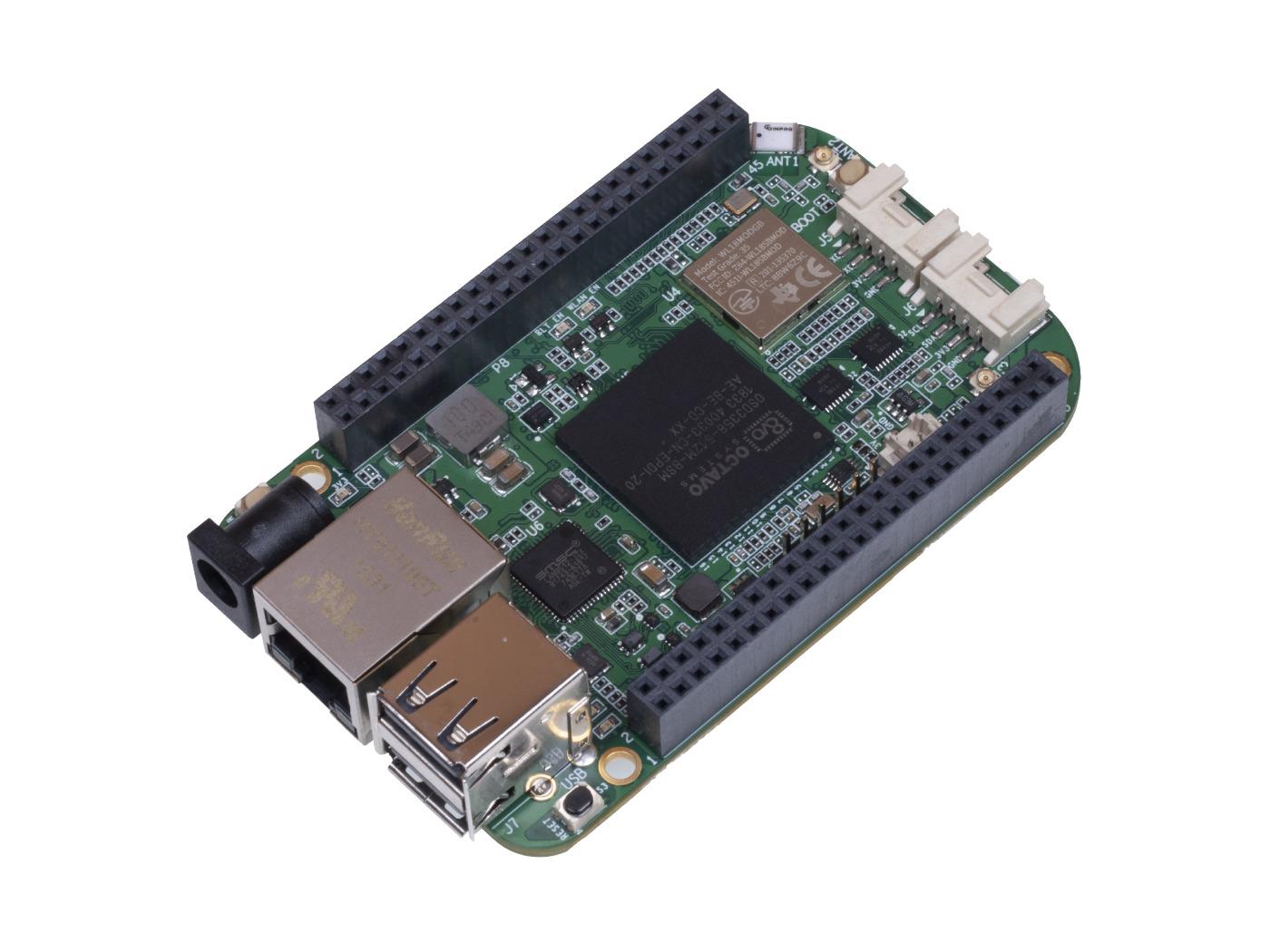 BeagleBone Green Gateway SBC features Sitara AM3358, Ethernet, and a DC Jack