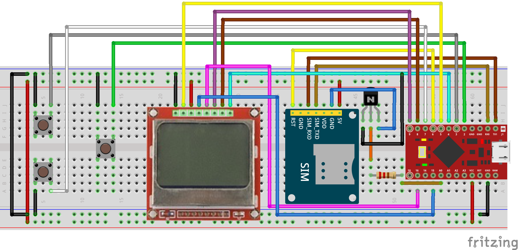 SIM800L GSM module with Nokia 5110 LCD and Arduino