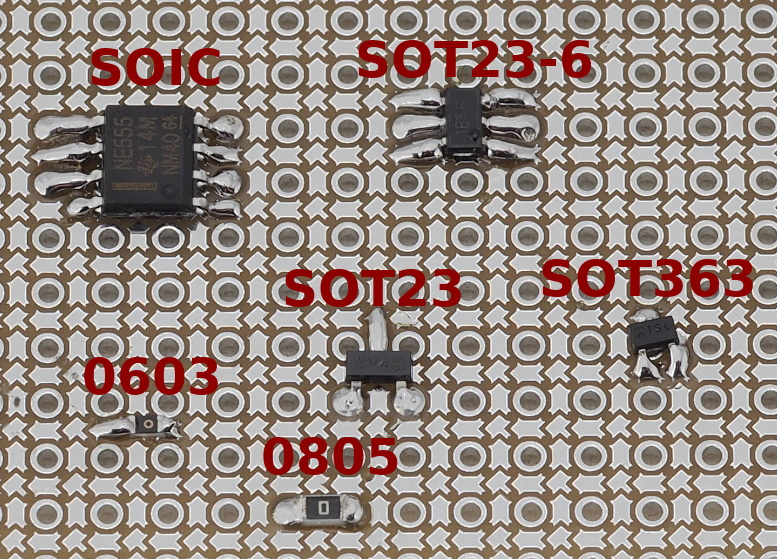 Advanced protoboard layout with 1.27mm pitch for smd parts