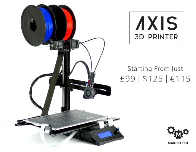 AXIS 3D Printer – Dual Material Printing at $125