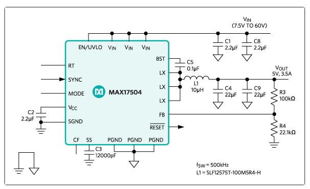 3 3V/3A, Wide-Input, Synchronous, Step-Down DC-DC Reference