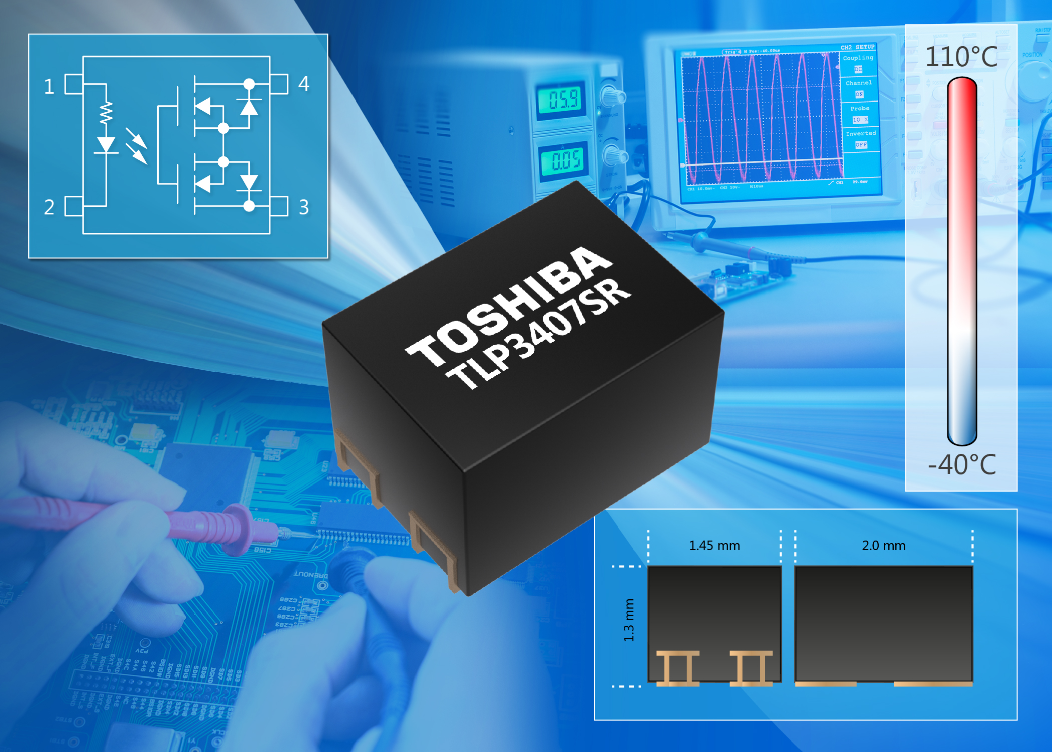 Toshiba Launches Voltage Drive Photorelay with a Tiny 2.9mm2 Footprint