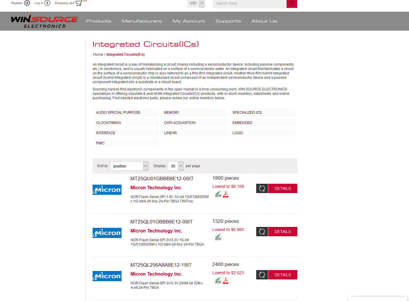 Search results on Integrated Circuits on Win-Source Electronics site