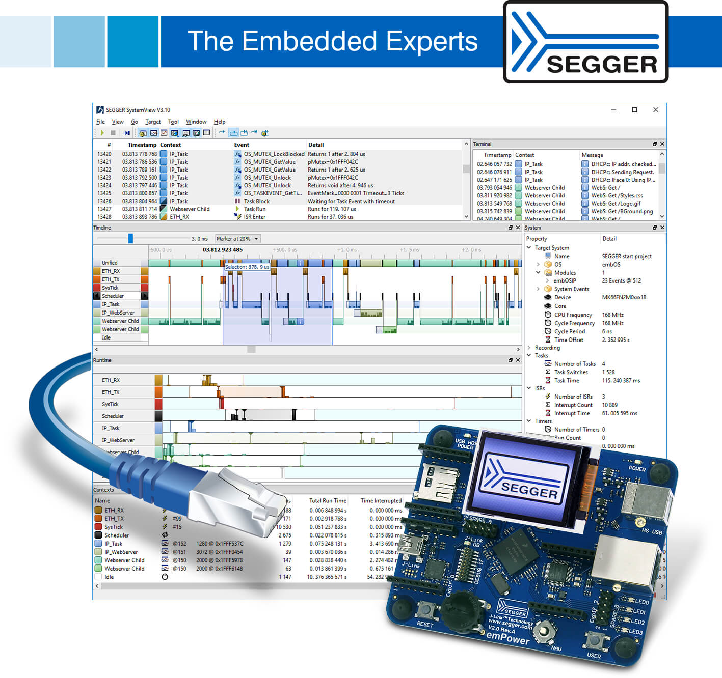 SEGGER's SystemView adds data acquisition via UART and TCP/IP