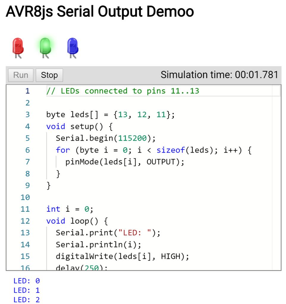 AVR8js Serial Output Demo