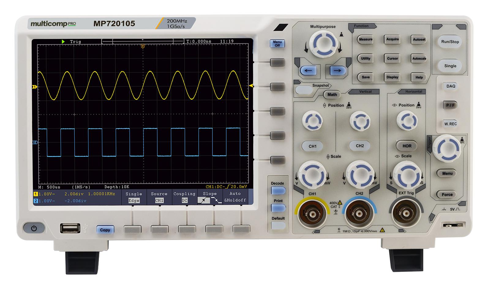 MP720105 – Digital Oscilloscope, 2+1 Channel, 200 MHz, 1 GSPS, 40 Mpts for £388.00