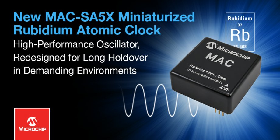 Miniature Atomic Clock (MAC – SA5X) is only 2 x 2″
