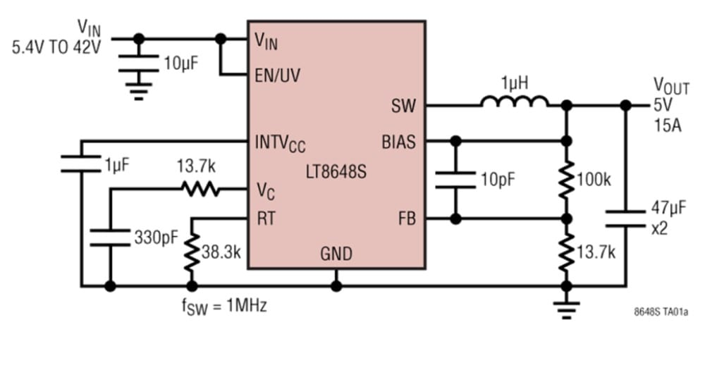 42V, 15A Synchronous Step-Down DC-DC Regulator