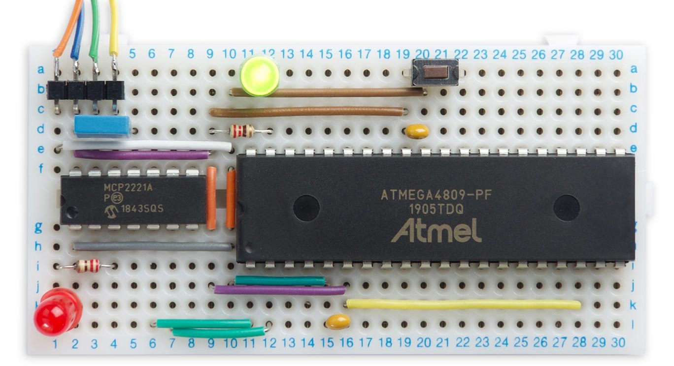 Minimal ATmega4809 on a Breadboard